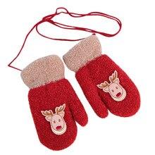 Веселые зимние теплые рождественские детские перчатки с принтом оленя для маленьких мальчиков и девочек 9,11