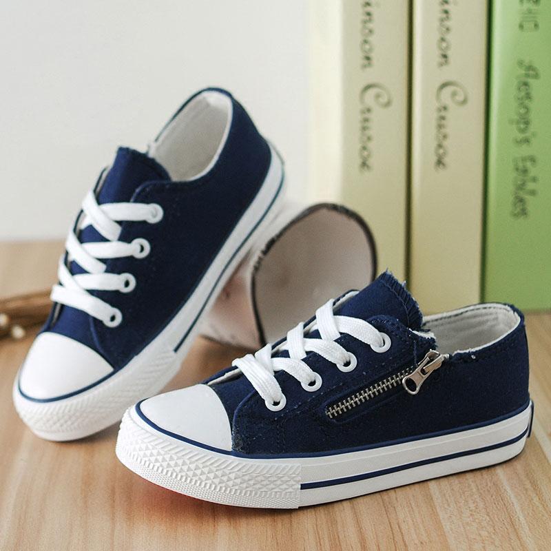 White Red Black Blue Children Sport Shoes Side Zipper Flats Zapatos