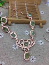 Natural green prehnite Necklace Natural Gemstone Pendant Necklace 925 sliver women trendy Crown women engagement fine Jewelry