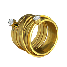 KINS 2017 New Arrival Gold Color High Quality Rhinestone Multilayer Personality Hyperbole Big Ring Jewelry For Female A00382