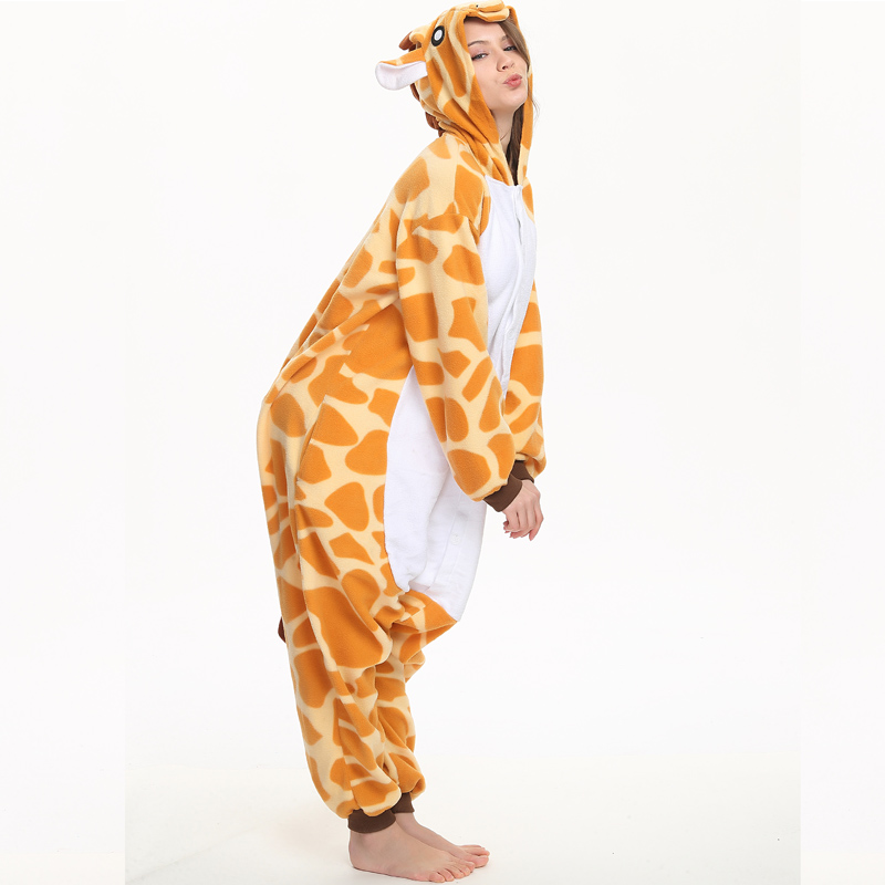 c013450ffb8 ... Funny Animal Giraffe Adult Kigurumi Fleece Women Onesie Cosplay  Clothing Winter Pajamas Halloween Party Jumpsuit Sleepwear ...