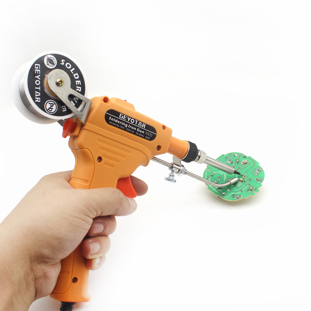 Image 2 - GEYOTAR 220V 60W Automatic Send tin Electrical Soldering Iron Gun Hand Welding Tool with Solder Wire Soldering Gun EU Plug-in Electric Soldering Irons from Tools