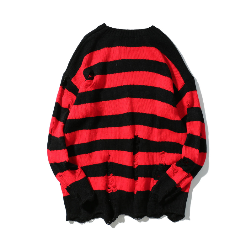 Ripped Stripe Knit Sweaters 2