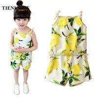 TIENKISDT Vestidos Top Summer Children Clothing Floral Girls Suit Children Tracksuits For Girls Sleeveless Shorts Sport