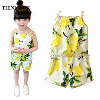 TIENKISDT Vestidos Top Summer Children Clothing Floral Girls Suit Children Tracksuits For Girls Sleeveless Shorts Sport