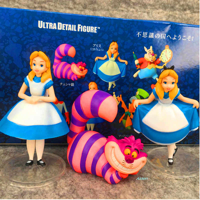 "4 ""síndrome de Alice no País Das Maravilhas Cheshire cat Big-eyed princesa 3 pçs/set PVC Action Figure Collectible Modelo Toy CAIXA 9 CM L190"