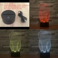 3 DTooth Vorm LED Nachtlampje Acryl Kleurrijke Kids Baby Slaapkamer sfeer USB Touch Afstandsbediening Schakelaar Tafel Cool Lamp als Beste Gife