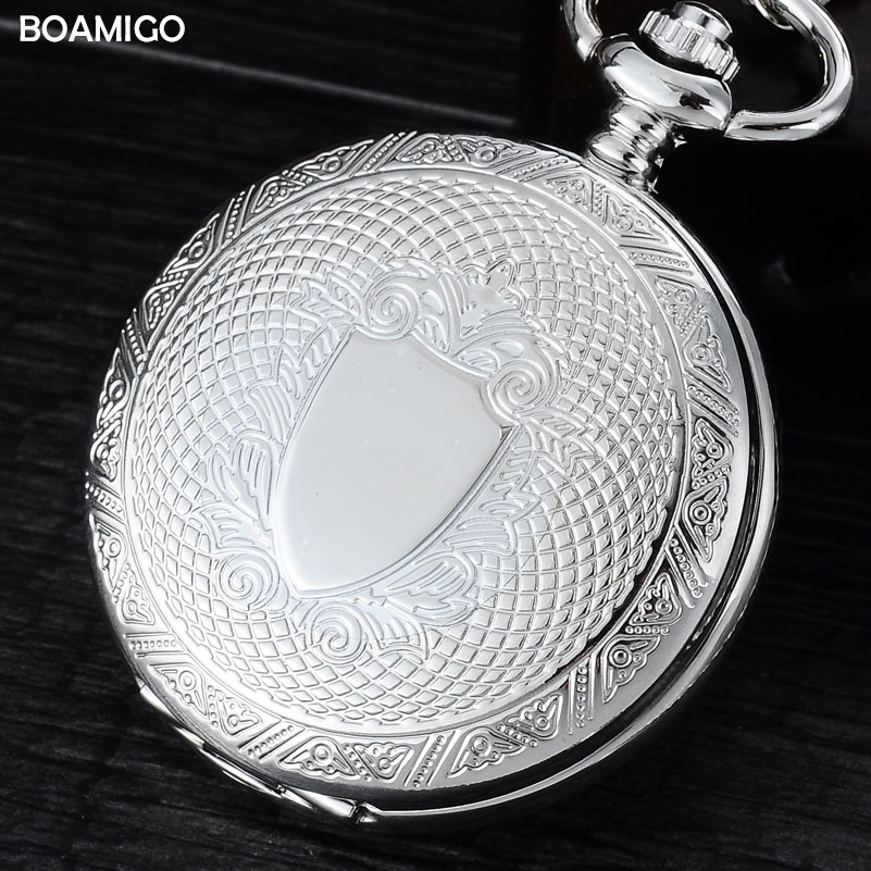 FOB men pocket watches antique mechanical watches BOAMIGO skeleton roman number watches silver design gift clock reloj hombre full hunter smooth cooper pocket watch skeleton roman numbers dial mechanical automatic fob hour antique gift for men women