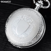 FOB Pocket Watches Antique Mechanical Watches BOAMIGO Brand Skeleton Roman Number Watches Silver Design Gift Clock