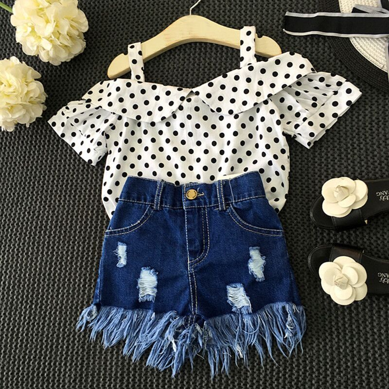 Girls Clothing Set Dot White Tops +Tassel Jeans holes Short Pants Kids Clothes Suit Denim Children Clothes set baby girl costume retail 2014 2pc baby girls kids rabbit tops dot denim overalls dresses outfit clothes children s clothing set suits
