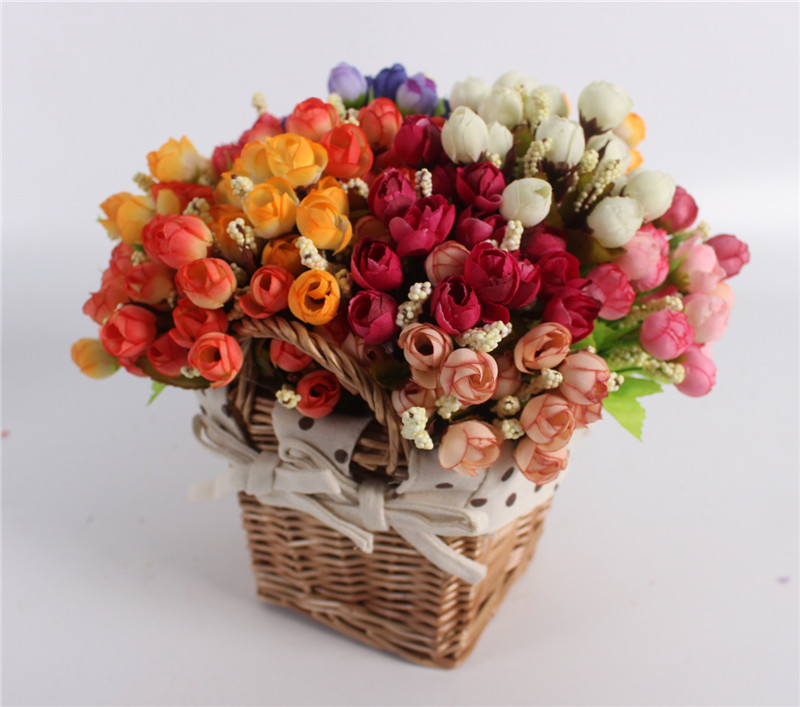 Autumn 15 Heads Silk Roses Bract Artificial Flower For Wedding And Christmas Decor 8