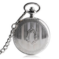 Women Shield Automatic Mechanical Pocket Watch Fob Cool Stripe Necklace Chain Exquisite Silver Luxury Self Winding