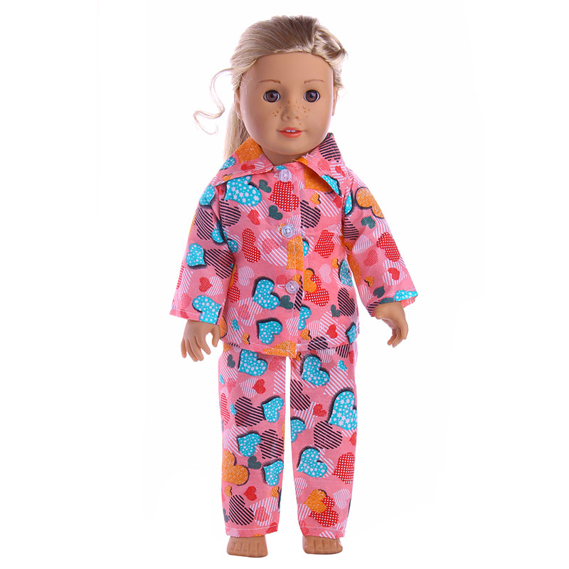Love graphic pajamas for 18 inch American girl doll , Children the best Christmas gift