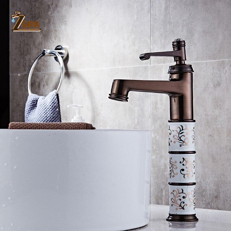 ZGRK robinet de lavabo robinet de salle de bains robinets évier robinet en laiton huilé Bronze moderne évier robinet mitigeur de pont