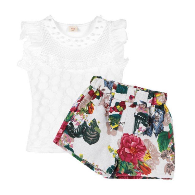 Girls Summer Clothes Set Children Sleeveless Solid T-shirt + Short Print Pants 2017 Girl Clothing Sets For Kids