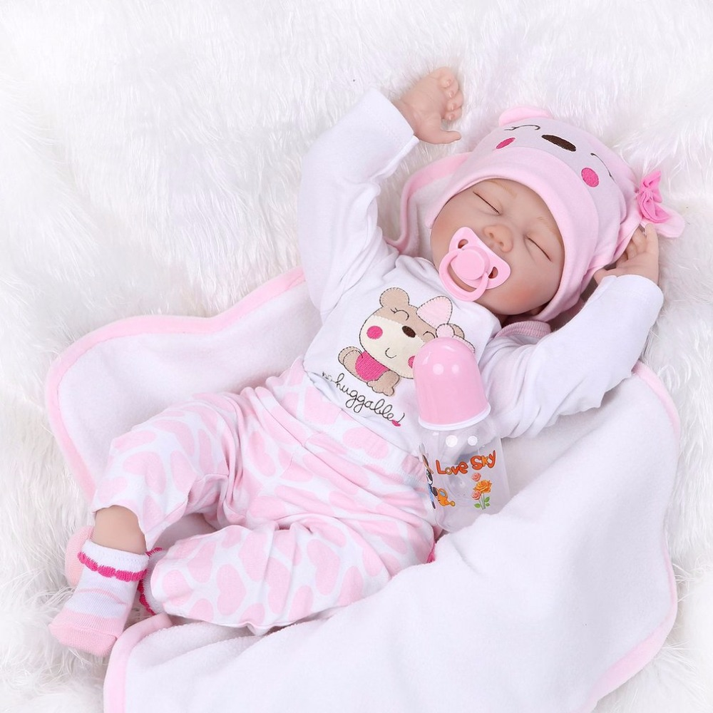 Cute 55cm Sleeping Reborn Baby Doll Toy Close Eyes Pink Clothes Soft Body Silicone Newborn Doll For Girls Early Education Toys cute elephant style baby polyester music box doll blue orange pink