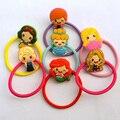 5 pcs Clássico Princesa Sereia Rapunzel Neve Duplo Círculo Cabelo Acessórios de Cabelo Elástico Para Meninas Crianças Amante Melhor Presente