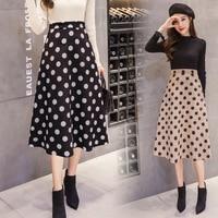 2019 New Vintage Woman Polka Dot High Waist Long A Line Suede Skirt Female Elegant Office Lady Midi Skirts