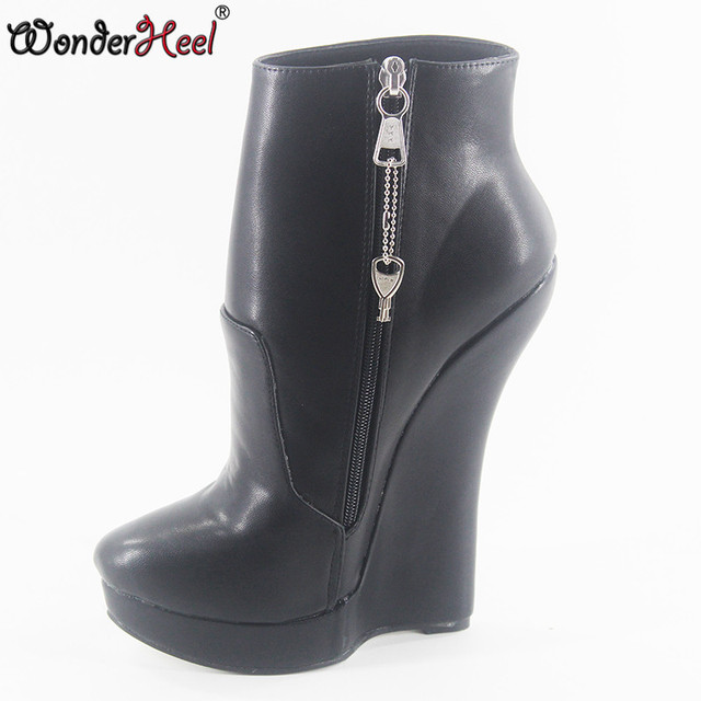 1f81c351af7 Wonderheel New extreme high heel 18cm with 3cm platform wedge ankle boots  YKK locked zipper matte