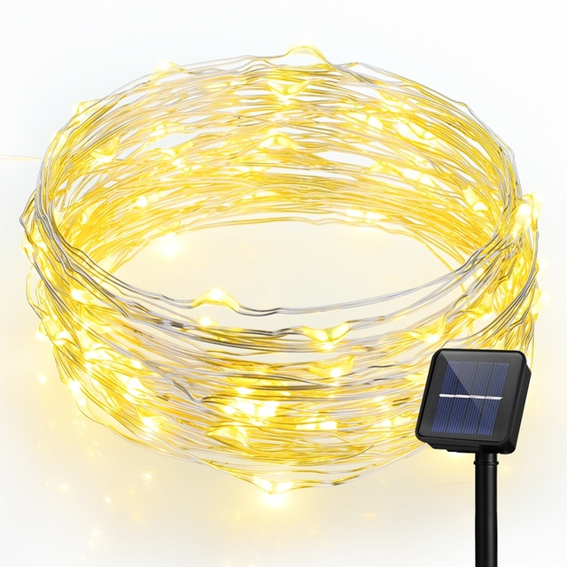 10 M 100 LED Solar Powered Luces de Cadena de Luz Blanca Cálida Luces de Alambre de Cobre a prueba de agua para Jardines Partes con 8 Iluminación modos