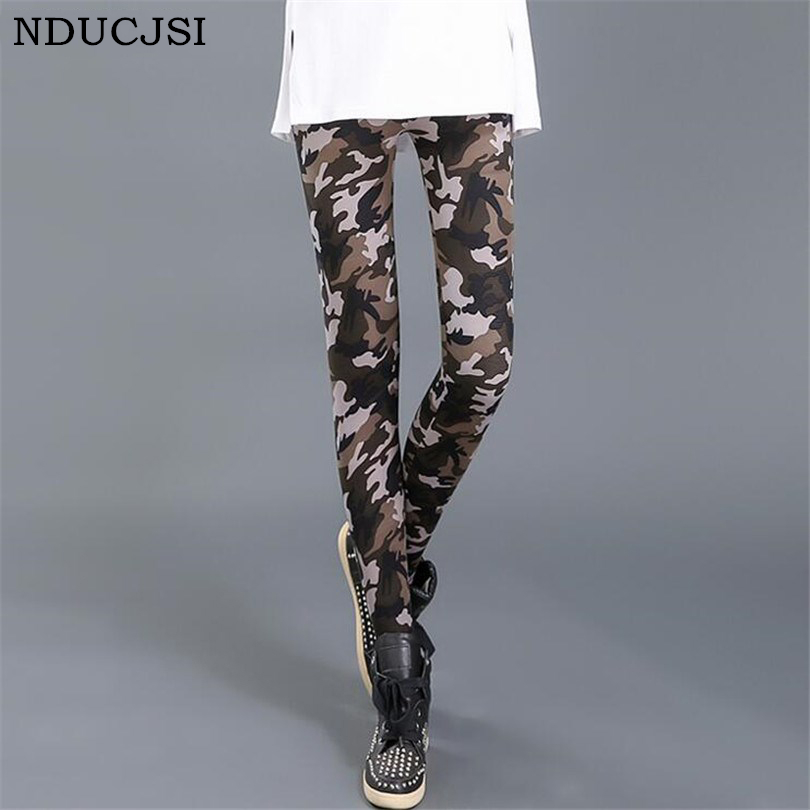 Nducjsi Camouflage Printed Leggings Women High Waist Pants Plus Size Leggins Push Up Legging Workout Elastic Fitness Leggins