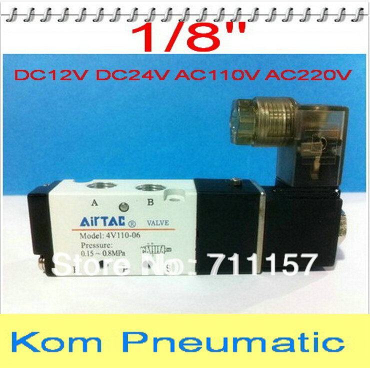 5x Free Shipping 1 8 BSP Pneumatic Air Solenoid Valve 5 Way 2 Position 4V110 0612v
