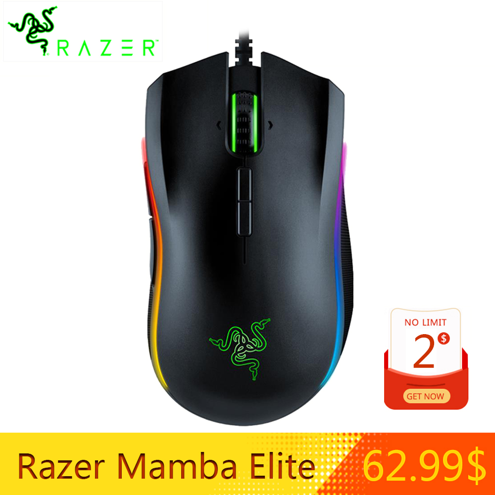 NOUVEAU Razer Mamba Elite Filaire Gaming Mouse 16000 DPI 5G capteur optique Lumière Chroma Ergonomique Gaming souris pour pc Gamer D'ordinateur Portable