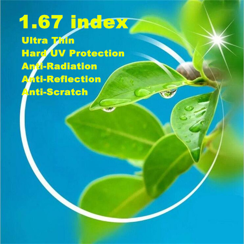 2 PCS 1 67 index Ultra Thin Single Vision Distance Near Reading Aspheric Prescription Lens CR