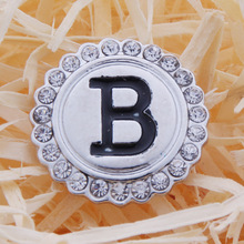 2pcs/lot Initial A-S Greek Letters Alphabet Snap Jewelry Metal Crystal 18mm Snap Button  Fit Snap Bracelet Mixture ZA424