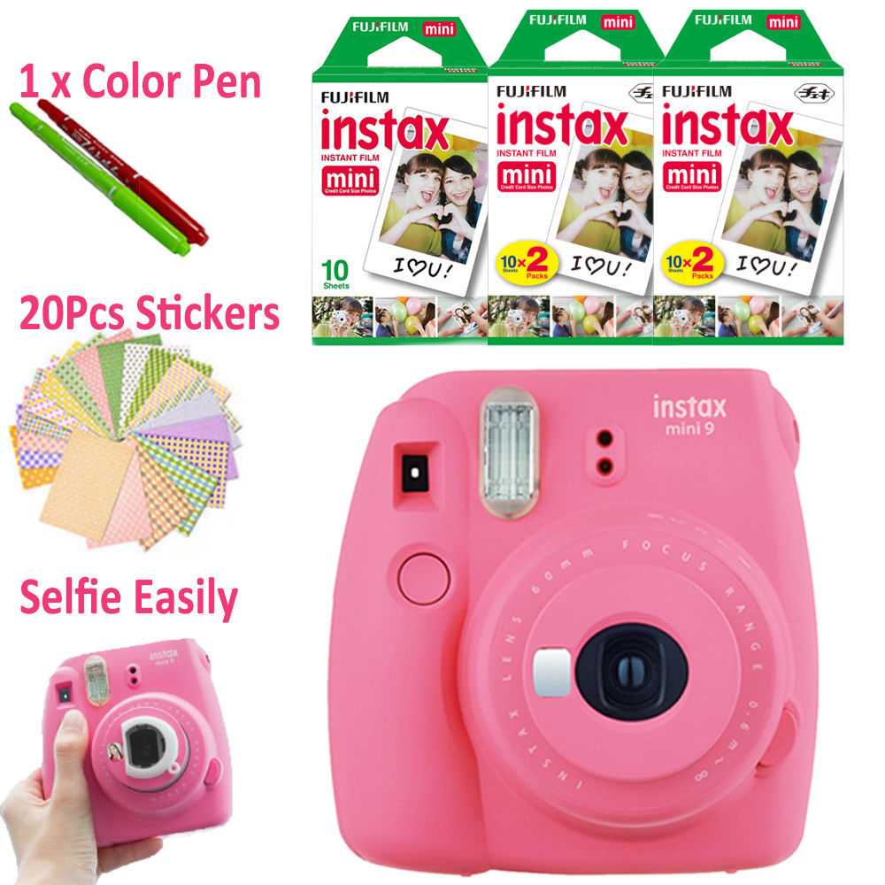 New 5 Colors Fujifilm Instax Mini 9 Instant Camera 50 Photos Fuji 8 White Frame Film Free 20pcs Stickers Pen In From Consumer