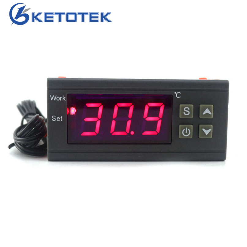 Digital Temperature Controller 90-250V 10A 220V Thermostat Regulator with Sensor Heating Cooling Control C/F Model Optional one pair car styling akrapovic car glossy carbon exhausts dual tips universal ak glossy carbon dual end pipe muffler pipes