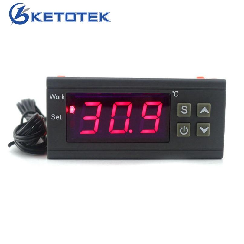 Digital Temperature Controller 90-250V 10A 220V Thermostat Regulator with Sensor Heating Cooling Control C/F Model Optional