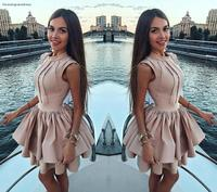 A Line High Neck Cocktail Dresses 2019 Arabic Dubai Style Mini Short Formal Club Wear Homecoming Prom Party Gowns Plus Size