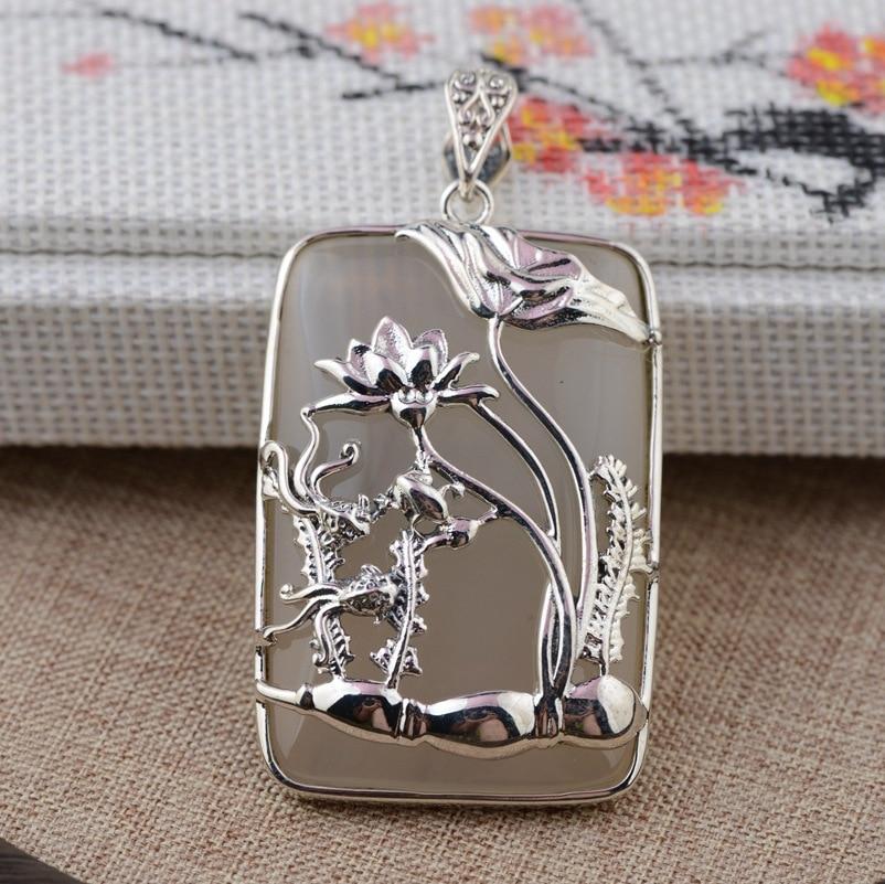[Argent] argent cerf roi S925 gros pendentif en argent sterling style antique femme calcédoine pendentif nouveau