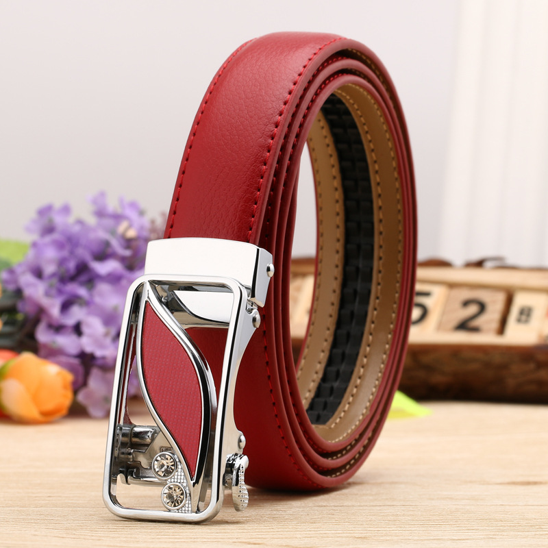 24 Style womens Fashion Leaf Automatic Buckle High Quality Leather Belts
