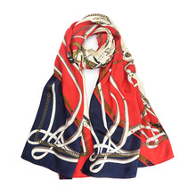 Silk Scarf 100% Red Printed 55x 173 cm Natural Fabric High Quality Soft Comfortable Warm Trend