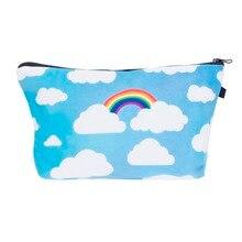 rainbow clouds 3D Printing women makeup bag neceser bolsos mujer de marca famosa 2016 New who cares bolsa neceser maquillaje