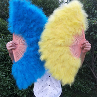 2pcs lot White Red yellow Green White blue Ostrich Party photo props Feather Hand fan Wedding decoration feather hand fans