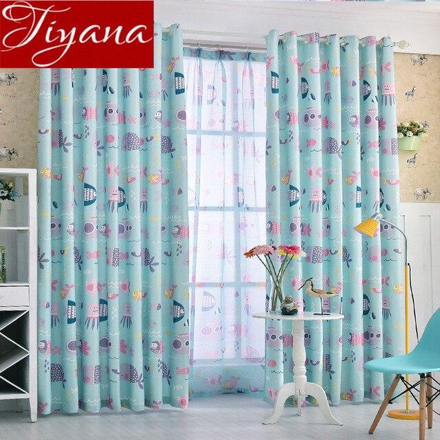 Ocean Blue Vorhnge Drucke Sheer Voile Cartoon Kinder Jungen Zimmer Moderne Fenster Wohnzimmer Tll Curtians