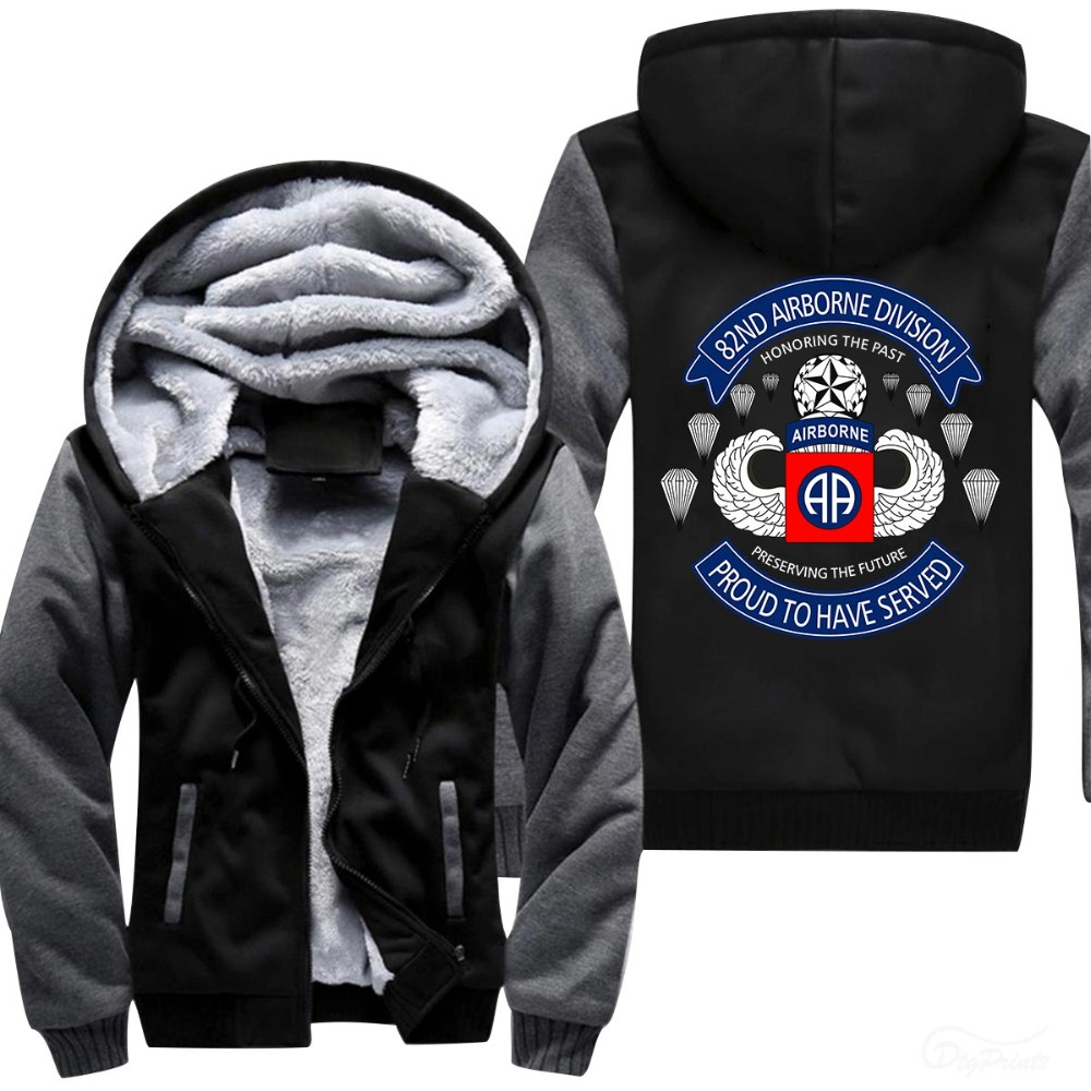 Best-selling 82nd AIRBORNE DEVISON printed hoodies 2018 hot  Men's Warm Fleece Hooded zipper Hoodies USA size