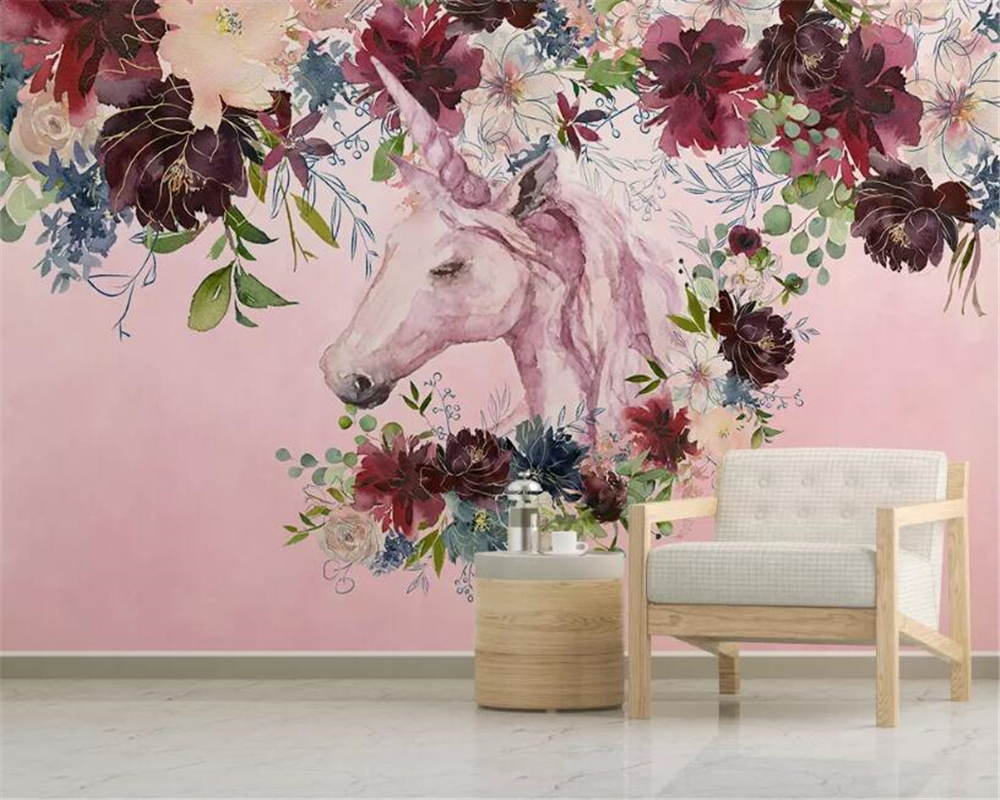 Beibehang Custom childrens kindergarten background wall 3d wallpaper unicorn flowers Background mural Wall tapety