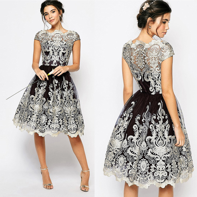 2018 Summer Dress Women Vintage Embroidery Lace Dress Casual Ball Gown Elegant Party Dresses Short Plus Size 3XL vestidos