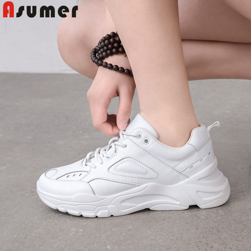ASUMER fashion new spring autumn shoes woman round toe lace up genuine leather shoes women casual