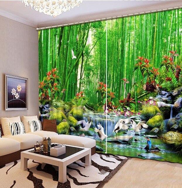 GroB Moderne 3D Vorhang Foto Malerei Bambus Wasser Landschaft 3D Sheer Vorhänge  Für Wohnzimmer Schlafzimmer Vorhänge Dekoration