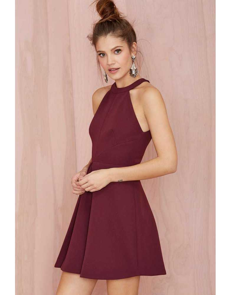 A Line Satin Halter Burgundy Short Homecoming Dresses 2016 Mini Prom Dress Elegant Party In From Weddings Events On