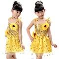 Novo Girassol Lantejoulas trajes de dança trajes meninas das crianças véu lantejoulas modern novo condoer crianças do jardim de infância
