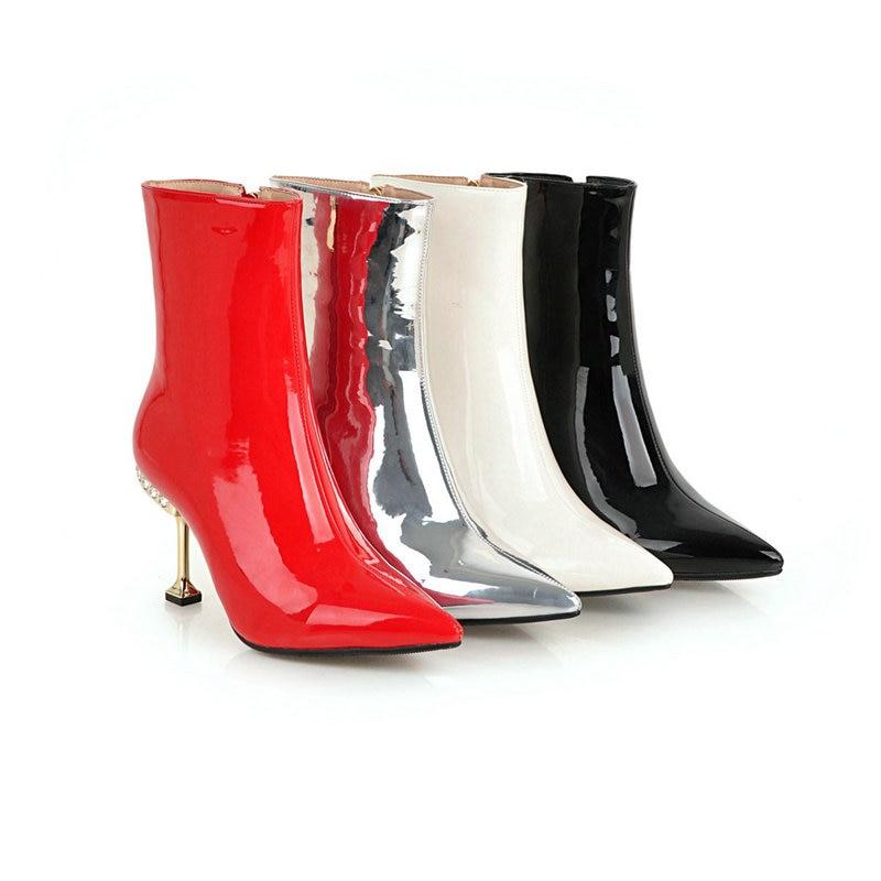 Chaud Dames Brevet Femme Parti Nouveau Chaussures Danse Femmes 42 Bling En Cheville Bottes Hauts rouge Hiver Taille Noir argent Cuir Talons Brillant Robe blanc 43 PxTq4