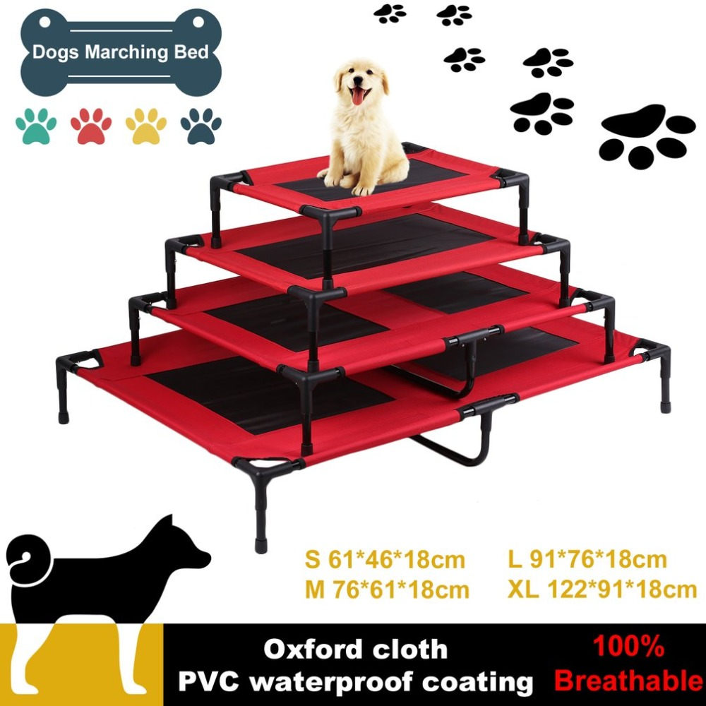 Assembled Breathable Steel Tube Frame Pets Cats Dogs Marching Bed Folding Portable Jumping Bed Trampoline Red