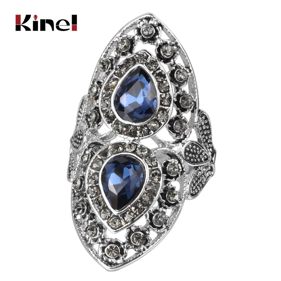 Kinel Luxury Grey Crystal Vintage Wedding Jewelry Antique Silver Blue Glass Ring For Women Party Accessories Bridesmaid Gifts