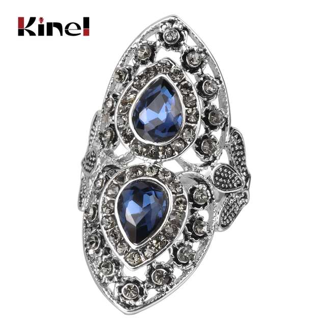 Kinel Luxury Grey Crystal Vintage Wedding Jewelry Antique Silver Blue Glass Ring